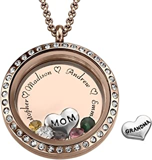 My Name Necklace Floating Charms Engraved Locket - for Mom or Grandma Personalized with CZ Birthstones - Mothers Day