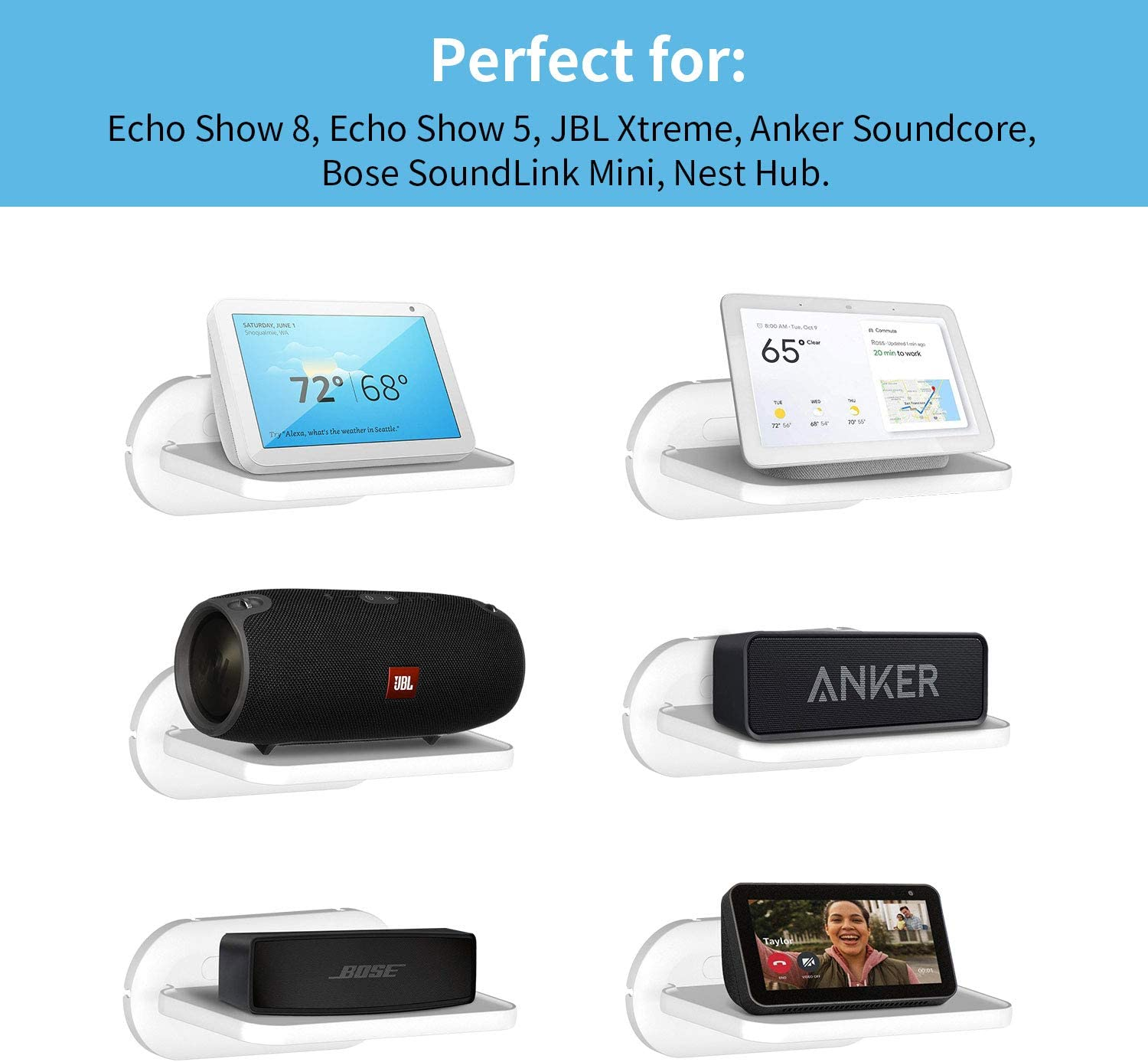 Cozycase Small Wall Shelf for Ech0 Show 8 // Show 5 JBL Flip and other Bluetooth speakers saving counter space in Bathroom Kitchen- White Floating Shelves for Google Nest Hub//Home Hub