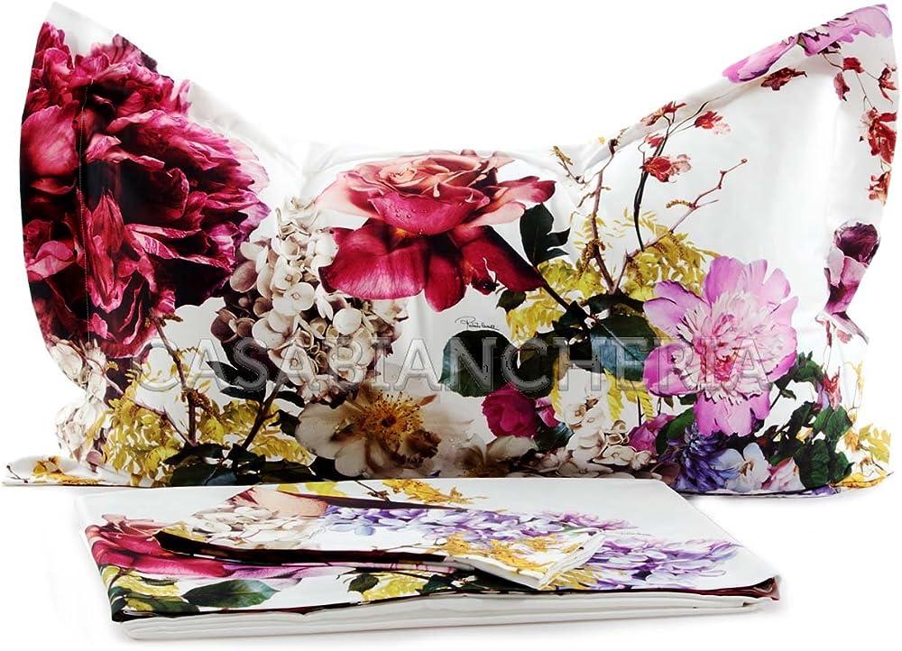 Roberto cavalli floris,completo lenzuola matrimoniale,in cotone, raso 03050303