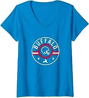 Womens Buffalo Football Stars and Stripes New York Outline V-Neck T-Shirt