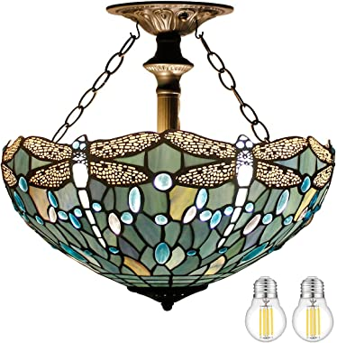 Tiffany Ceiling Fixture Lamp Semi Flush Mount Light W16H15 Inch(LED Bulb Included)Sea Blue Stained Glass Crystal Bead Dragonf
