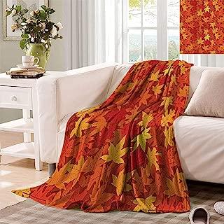 Burnt Orange Decor Print Blankets, Multi Colored Autumn Fall Maple Leaves in Unusual Designs Nature Theme Artprint Super Soft Minisize Fleece Throws for Sofa, 50