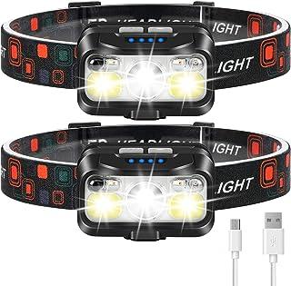 Headlamp Rechargeable, LHKNL 1100 Lumen Super Bright Motion Sensor Head Lamp flashlight, 2-PACK Waterproof LED Headlight w...