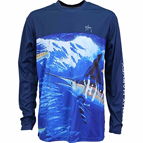73a74fa1750a Guy Harvey Men s Marlin Rap Long Sleeve Performance Shirt
