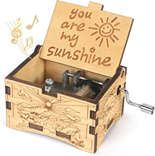 BOOB You are My Sunshine Wood Music Box Vintage Hand Crank Wooden Musical Box Gifts for Birthday/Women's Day/Valentines Day (Khaki)