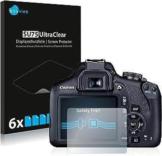 savvies Protector Pantalla Compatible con Canon EOS 2000D (6 Unidades) Pelicula Ultra Transparente