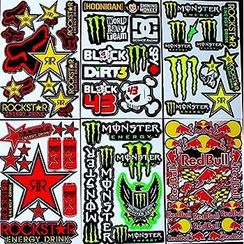 6 Bogen Aufkleber T T Selbstklebend Stickers Rockstar Energy Drink Bmx Moto Cross Decals Abziehbilder Mx Auto