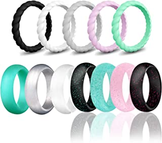 HDSUDCG Silicone Wedding Ring Bands for Women 12 Pack Size 4 5 6 7 8 9 Womens Thin Stackable & Glitter Powder Rubber Wedding Band Rings 5.7mm & 3mm Wide