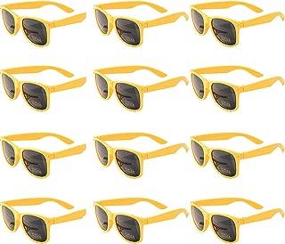 OAONNEA 12 Pares Años 80 Neon Gafas de Sol de Colores Fiesta Adulto (12amarillo)