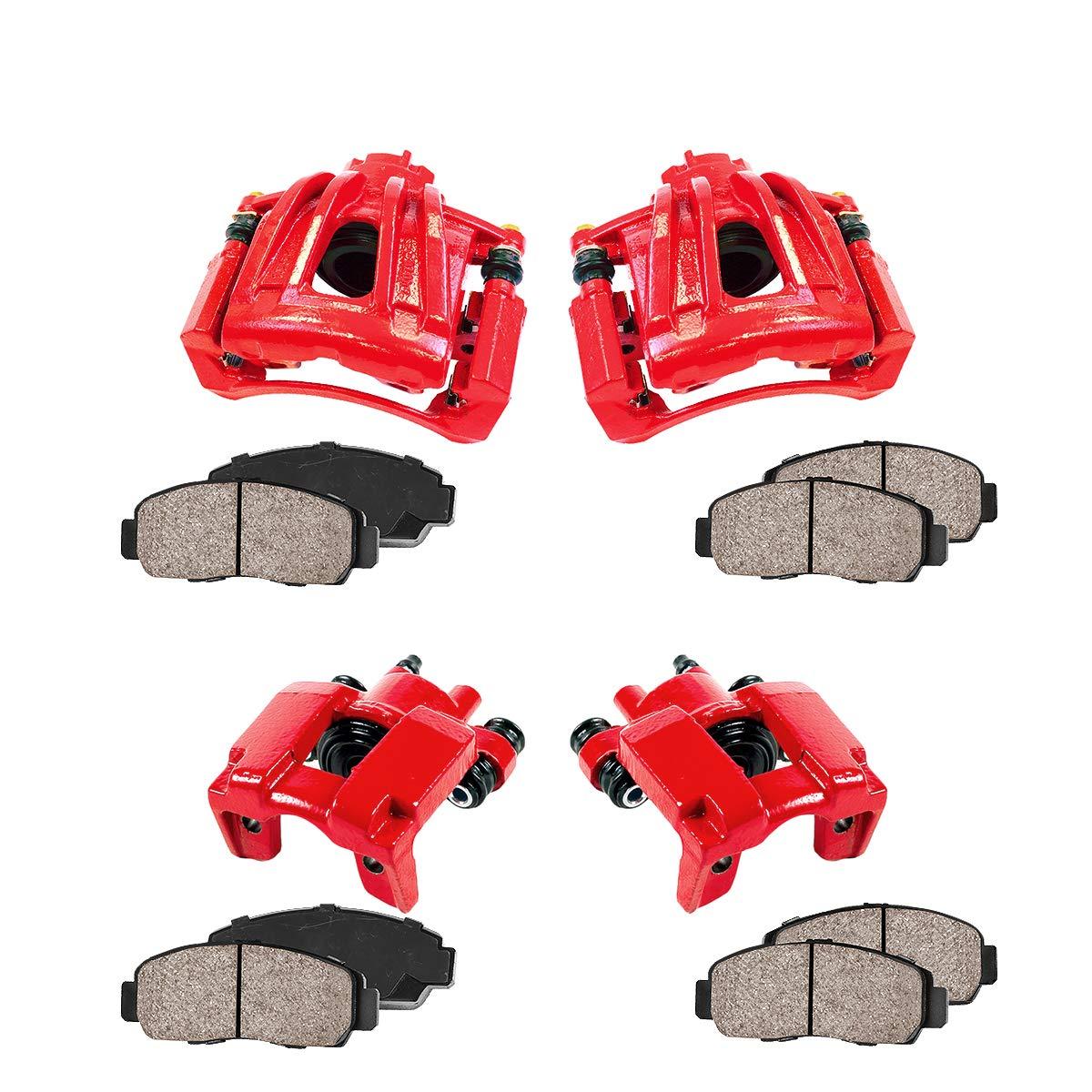 REAR Ceramic Brake Pads Kit 4 Performance Grade Semi-Loaded Powder Coated Red Caliper Callahan CCK12051 FRONT