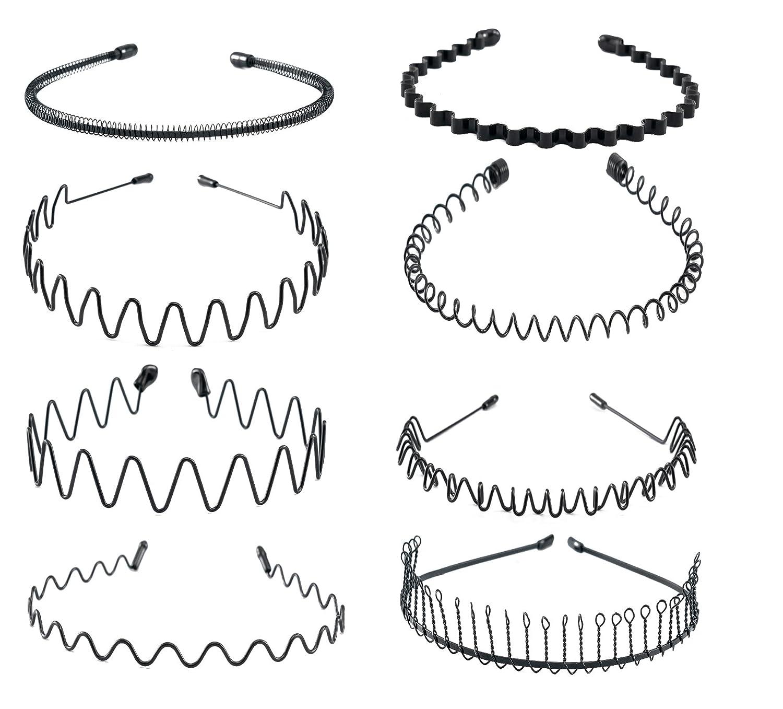 vorey 6Pcs Wavy Headband Metal Hair Hoop Ordinary Headwear Hair Accessories for Women Men (black-6pcs) : Beauty