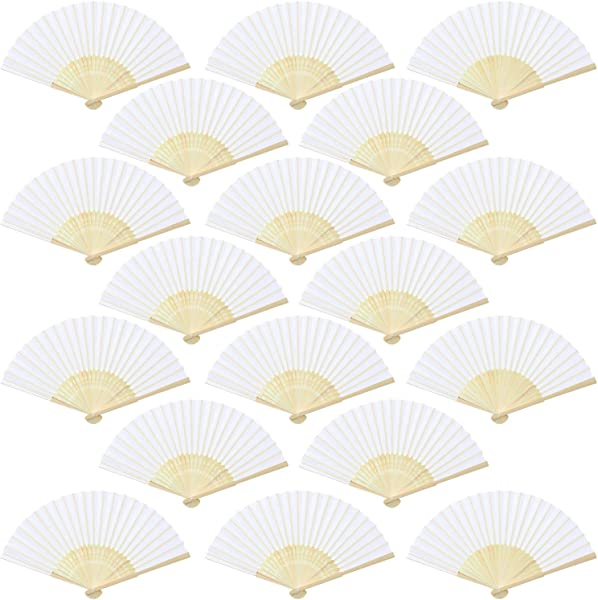 Aneco 18 Pieces White Handheld Fans Cloth Fans Bamboo Folding Fans For Wedding Decoration Church Wedding Gifts Party Favors DIY Decoration