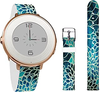 14mm Pebble Time Round Lotus,Jolook 14mm Width Leather Strap Wrist Band Replacement for Pebble Time Round 14mm and 14mm Bands Watch -Vintage Blue Lotus Design