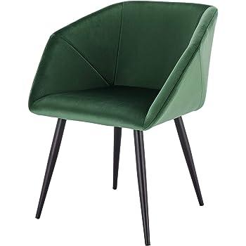 EUGAD 0293BY 1 1 Stück Esszimmerstühle Küchenstuhl Wohnzimmerstuhl Polsterstuhl mit Armlehne, Retro Design, Samt, Metall, Dunkelgrün