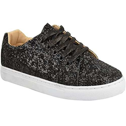 Fashion Thirsty Womens Ladies Flat Lace Up Glitter Sparkly Trainers  Sneakers Pumps Shoes Size 442485869