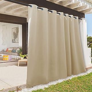 Best RYB HOME Indoor Outdoor Deck Curtain, Outdoor Patio Curtain Waterproof Windproof, Darkening Window Panel for Sliding Door / Foyer / Arbor / Lanai, 100-inch Width x 84-inch Length, 1 Pc, Biscotti Beige Review