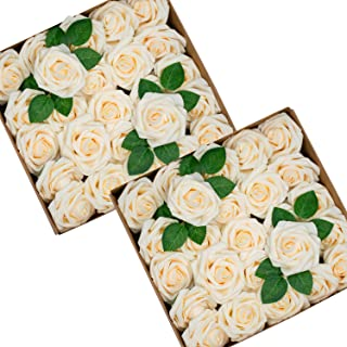 Foraineam 50pcs Artificial Roses Flower Real Looking Foam Rose Fake Flowers with Stem & Leaves for DIY Wedding Bouquets Centerpieces Party Home Decorations (Cream)