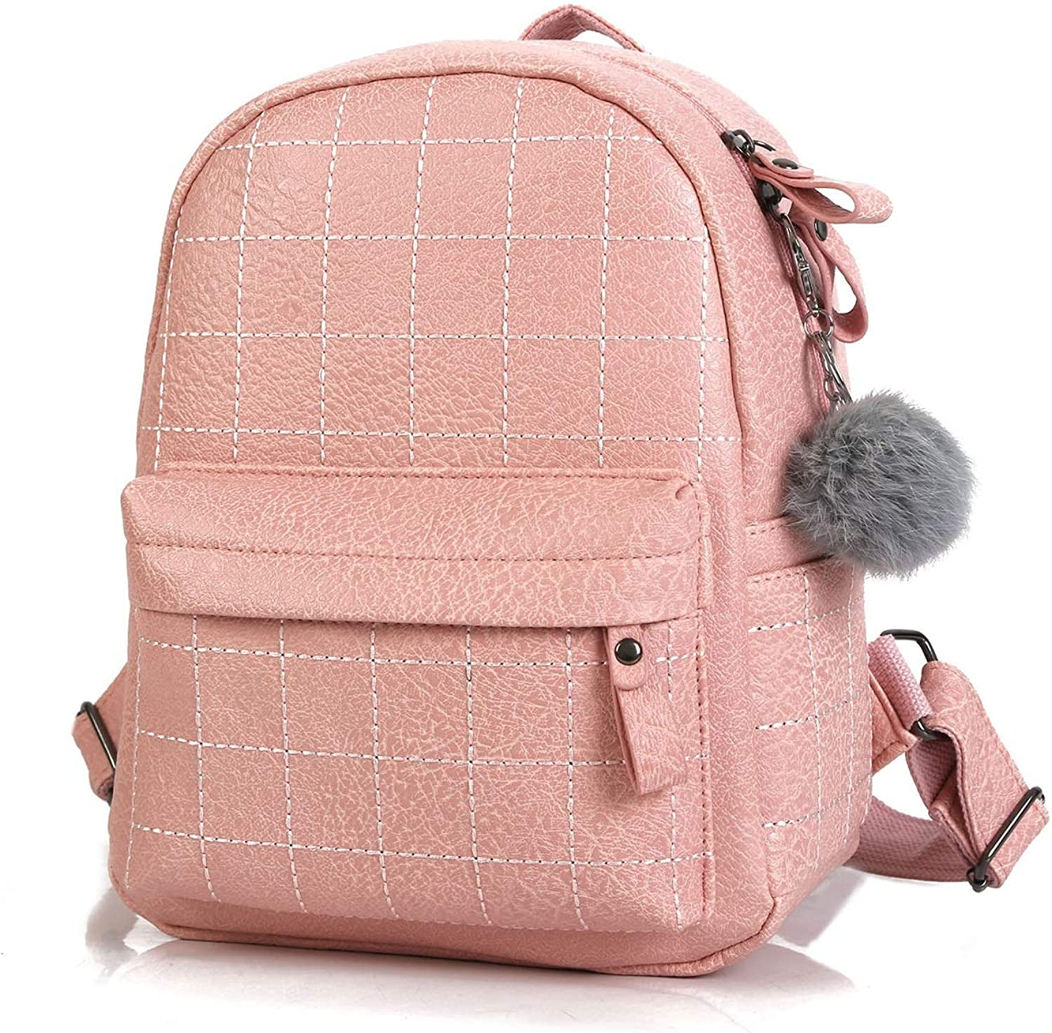 Women's Backpack Sweet Female Backpack Or Shoulder Bag with Hair Ball Pendant Suitable for Outdoor Travel Shopping (color   Pink)
