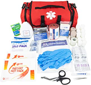 LINE2design Emergency Fire First Responder Kit - Fully Stocked First Aid Rescue Trauma Bag - Professional Lifeguard EMS EMT Paramedic Complete Medical Supplies for Natural Disasters - Red