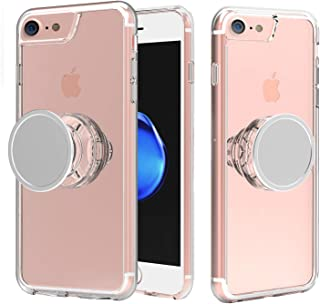 Muntinfe iPhone 8 Case Clear, iPhone 7 Case with Stand, Slim Shockproof Hybrid Protective Case with Kickstand Iron Mirror [Stress Relief Anxiety Toys] [Fit Car Mount] for iPhone 6, 6s, 7 and 8- Clear