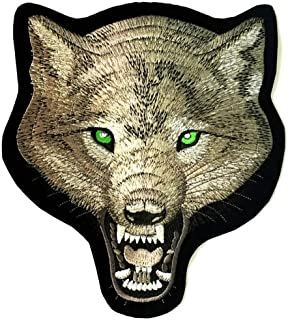 Patch Portal Lone Wolf Back Patch 9 Inches Grey Animal Wildlife Head Biker Large Embroidered Sew Iron on Trendy Velvet Emb...