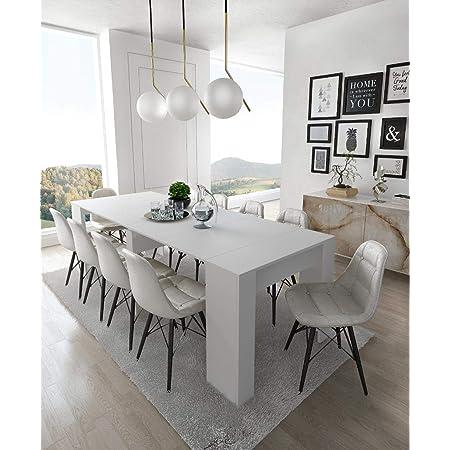 Home Innovation - Table Console Extensible, rectangulaire avec rallonges, jusqu'à 237 cm, pour Salle à Manger et séjour, Blanc Mat. Jusqu´à 10 Personnes. Dimensions fermée : 90x50x78 cm.