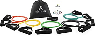 Prosource Fit Tube Resistance Bands Set with Attached Handles, Door Anchor, Carrying Case and Exercise Guide
