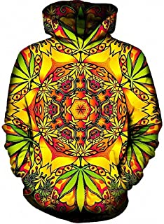 MIGAGA Psychedelic Weed Hoodies Sweatshirt Men Hooded with Hat Sudaderas Tracksuit