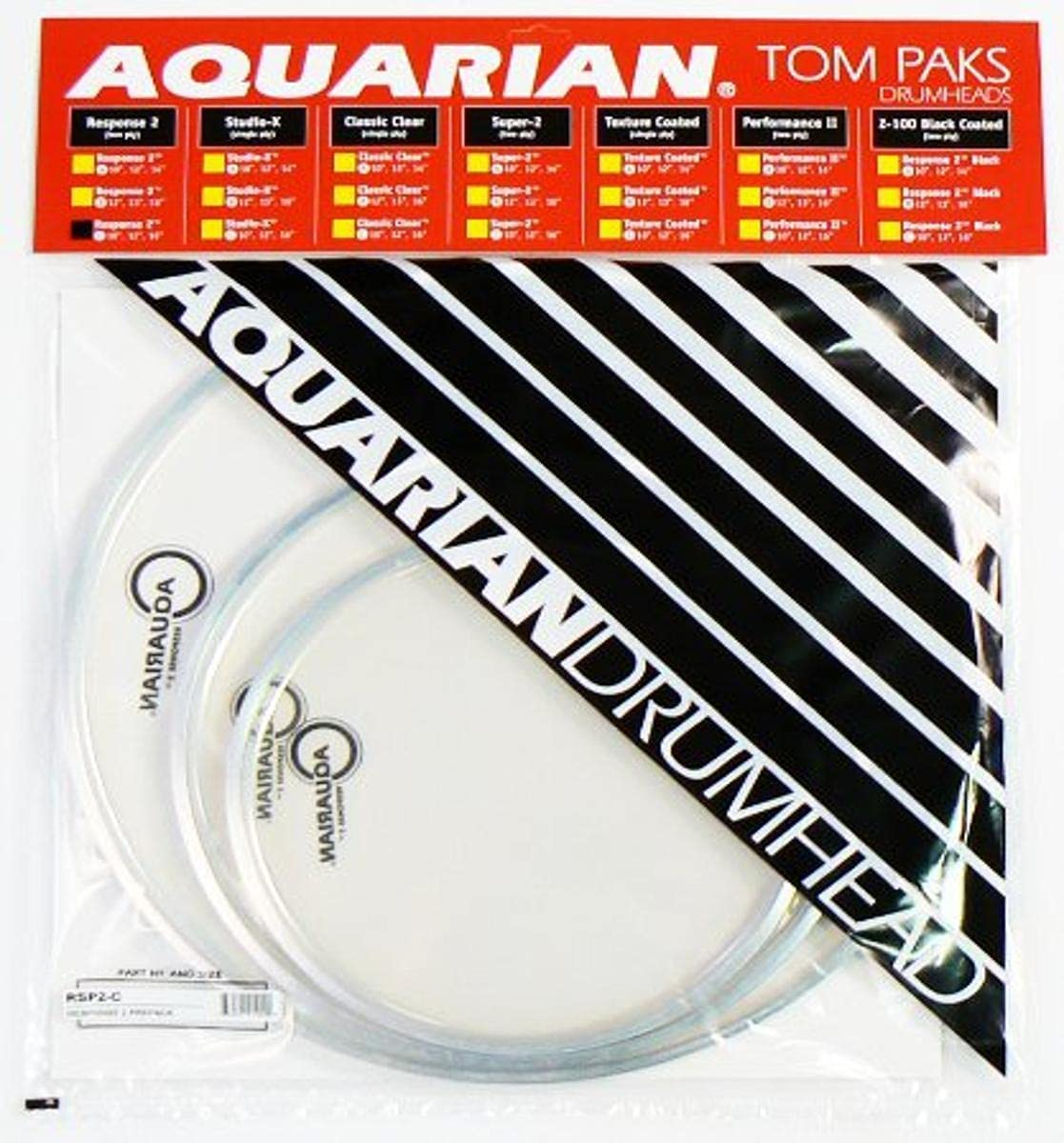 Aquarian Our 5 ☆ popular shop most popular Drumheads RSP2-C Response 2 16-inch 12 Tom 10 Pack