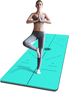 FrenzyBird 6 mm TPE Yoga Mat with Carrying Strap and Alignment Marks, Anti Slip and Easy to Clean, Provides Perfect Cushio...