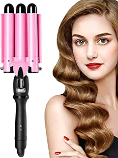3 Barrel Curling Iron 1 Inch Professional Curling Wand with LCD Temperature Display Ceramic Heat...