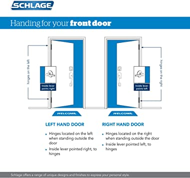 Schlage F60 PLY FLA 505/605 Plymouth Front Entry Handleset with Flair Lever Deadbolt Keyed 1 Side, Bright Brass