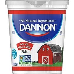 Dannon All Natural Whole Milk Yogurt, Plain, 32 Ounce Container