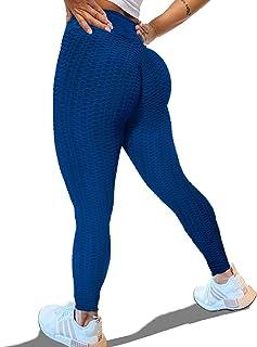 KINGJOZE HighWaistedYogaPantsforWomen Stretchy Tummy Control Butt Lifting Booty Textured Leggings Running Workout Tights