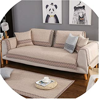 Thicken Cotton/Line Sofa Cover Dirt-Proof Sofa Protector Soft Anti-Skid Fundas Slipcovers for Living Room Sectional Couch Cover,Beige,90180cm
