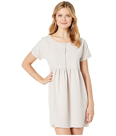 American Rose Rosaleen Short Sleeve Button Up Dress (Natural) Women