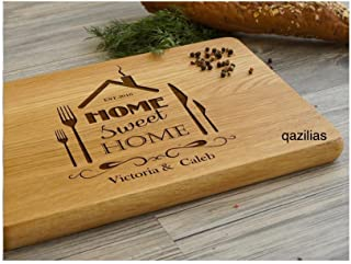 Sweet Home - Personalized Carved Engraved Wood Cutting Board with Juice Groove. Best Kitchen Chopping. 15.7x9.8x0.6 Inch Kitchen Tool. Made of superb oak.