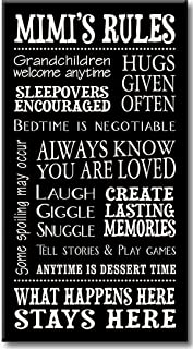 My Word! Mimi's Rules - 8.5 x 16 Decorative Sign, Black with Cream Lettering