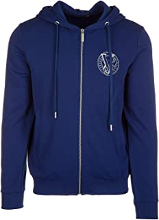 Hooded Blue Cotton Full Zipper Sweater Italian Size MEN: IT48   M