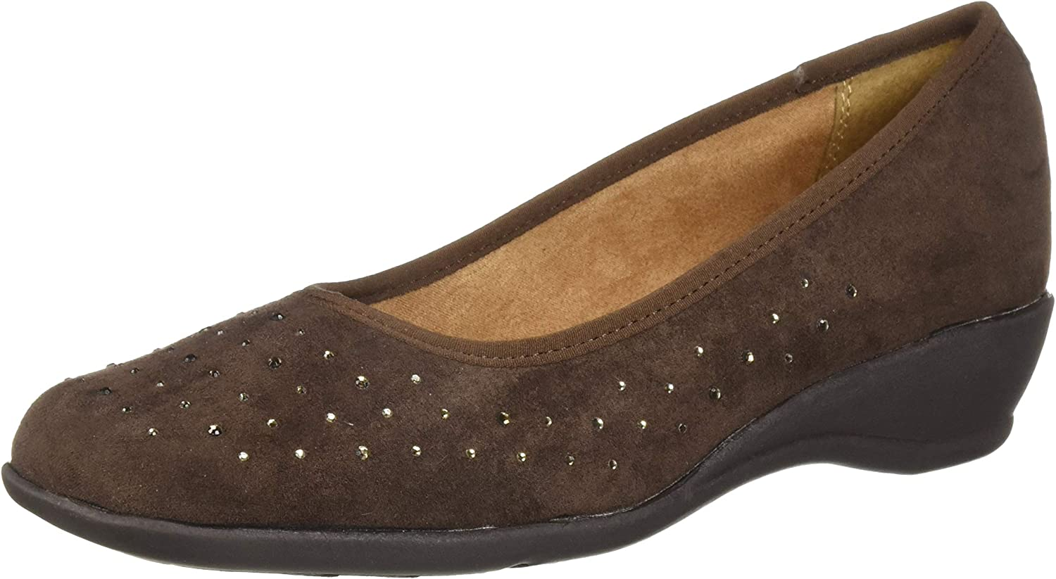 Hush Puppies Soft Style by Wouomo Rubi Pump Dark Marronee Faux Suede 8 Extra Wide US