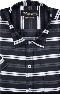 ACCOX Men's Cotton Half Sleeve Regular Fit Check Print Formal Shirt (Multicolour)