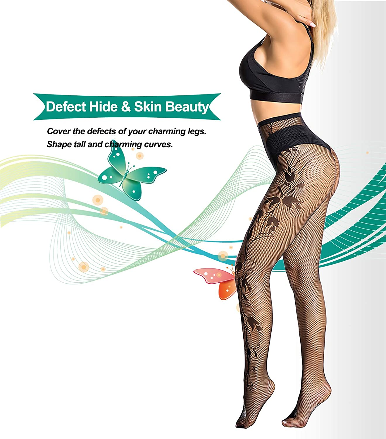Jilicsany 4 pairs High Waist Sheer Tights Patterned Pantyhose for Women Control Top