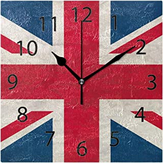 XiangHeFu Wall Clock,Square 8x8 Inches Silent UK Flag Decorative for Home Office School