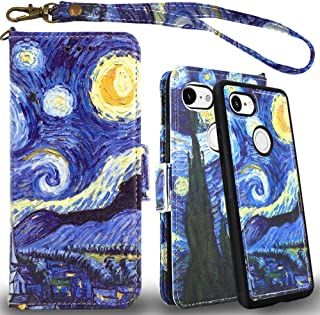 Mefon Google Pixel 2 XL Case Wallet Leather Detachable, with Tempered Glass and Wrist Strap, Enhanced Magnetic Closure, Card Slot, Kickstand, Durable Flip Folio Cases for Pixel 2 XL (Starry Night)