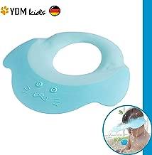 Kinder Shampoo Schutz – Haare waschen ohne Tränen, für 0 - 9 Jahre, zum Überstülpen, 100% wasserdicht, Haarwaschhilfe mit Augenschutz und Ohrenschutz, elastisches Material, zertifiziert blau