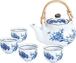 fanquare Japonais Service à Thé en Porcelaine Bleu et Blanc, Service à Thé Motif Fleur de Prunier, Théière en céramique av...
