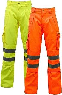 Men's Work Wear Hi Vis High Visibility, Poly-cotton Work Trouser BS EN471