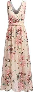 Elever Womens V Neck Print Sleeveless Chiffon Long Maxi Evening Prom Party Dress