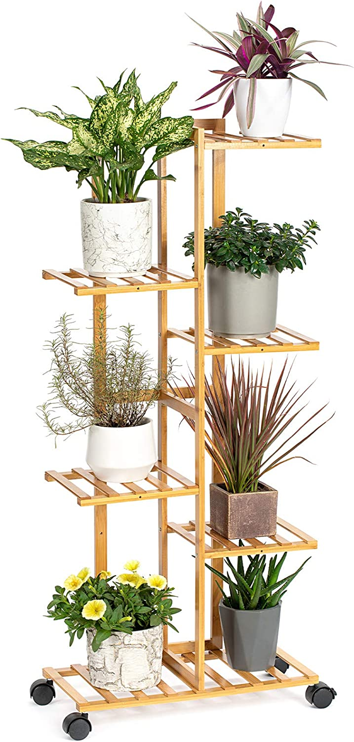 Befano Bamboo Plant Stand Rack 6Tier 7 Potted Indoor Outdoor Plant Stand Multiple Flower Planter Shelf Rack Pot Holder Garden Corner with Detachable Wheels for Living Room Balcony Patio Yard