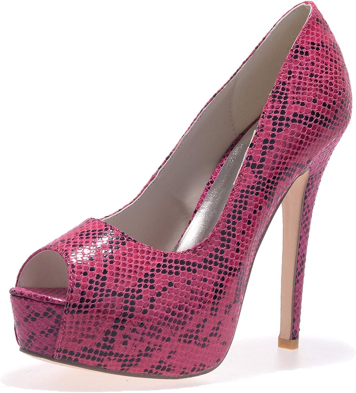 LLBubble High Heels Platform Snakeskin Women Pumps Peep Toe Women Formal Party Dress shoes 3128-31